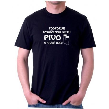 Tričko pánské Podporuji vyváženou dietu, pivo v každé ruce, dárek pro muže