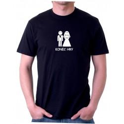 Tričko pánské na rozlučkovou párty s potiskem Konec Hry. Na rozlučku se svobodou pro ženicha