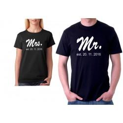 Mr. Est. Datum seznámení - Pánské Tričko pro zamilované páry.