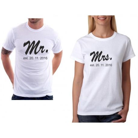Mrs. Est. Datum seznámení - Dámské Tričko pro zamilované