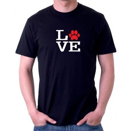 LOVE - Pánské tričko s textem LOVE s motivem tlapky pejska