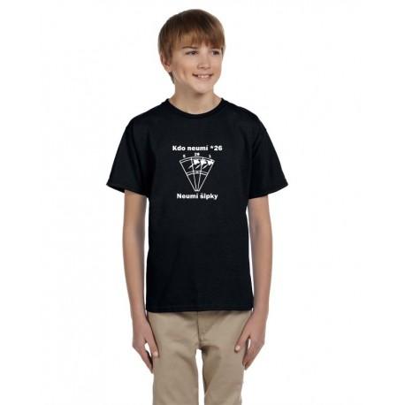Kdo neumí 26 neumí šipky - Dětské tričko pro hráče šipek