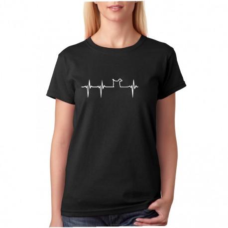 Křivka s motivem pejska - Dámské tričko s potiskem