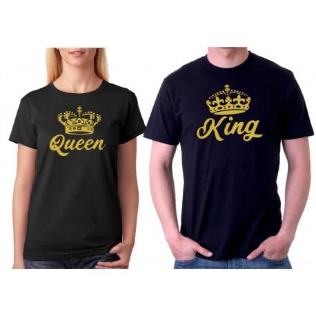 Queen ze zlatým potiskem - Dámské párové tričko pro zamilované.