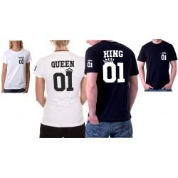 King 01 a Queen 01 z potiskem ze předu, na rukávu a ze zadu - Párové tričko pro zamilované.