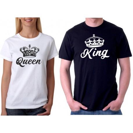 King a Queen s potiskem ze předu - Párové tričko pro zamilované.