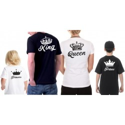 KING a QUEEN s potiskem na zádech - Párové tričko pro zamilované.
