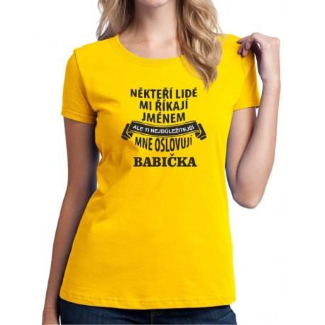 Někteří lidé mi říkají jménem, ale ti nejdůležitější mně oslovují Babička - Dámské Tričko s vtipným potiskem