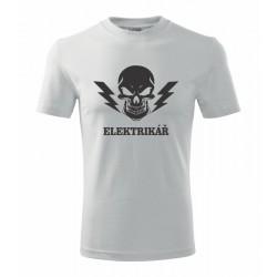 Pánské triko Elektrikář s blesky a lebkou