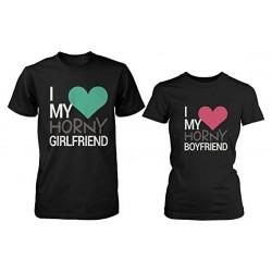 I love my horny Girlfriend - I love my horny Boyfriend - Párové vtipné tričko pro zamilované