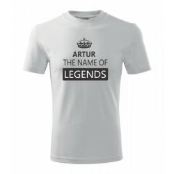 Karel The name of Legends - Pánské tričko jako dárek ke svátku pro jméno Karel