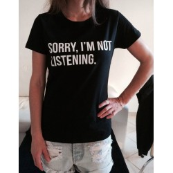 Dámské tričko s nápisem, promiň já neposlouchám