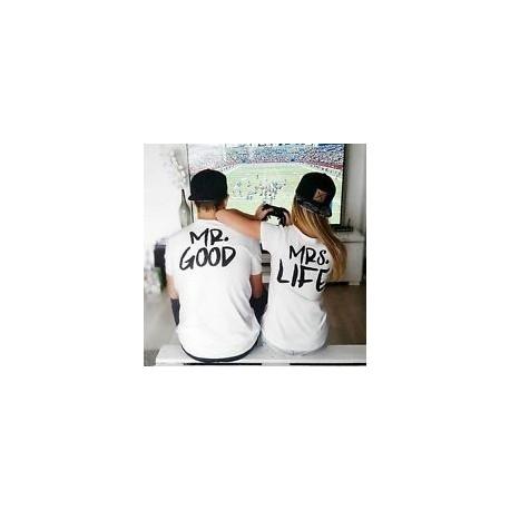 Mr. Good - Mrs. Life - Párové tričko pro zamilované páry