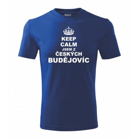Keep calm jsem z Českých Budějovic - Pánské tričko s potiskem města Českých Budějovic