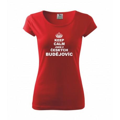 Keep calm jsem z Českých Budějovic - Dámské tričko s potiskem města Českých Budějovic