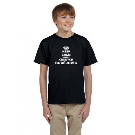 Keep calm jsem z Českých Budějovic - Dětské tričko s potiskem města Českých Budějovic