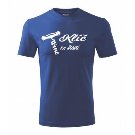 Klíč ke štěstí s obrázkem vývrtky na víno - Pánské dárkové tričko pro milovníky vín
