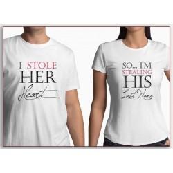 I stole her Heart, ukradl jsem její srdce. Pánské dárkové tričko pro zamilovaný pár. Dárek pro muže