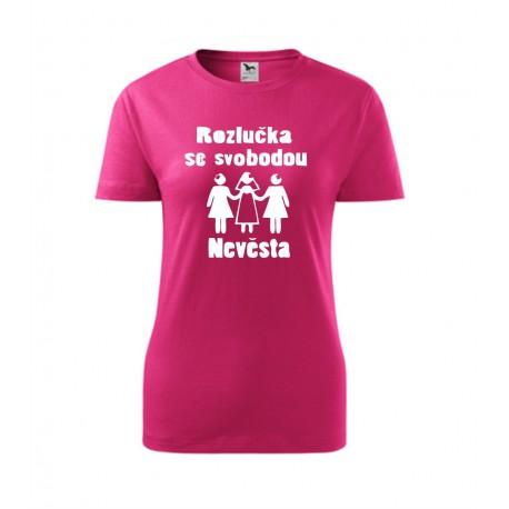 Nevěsta - nápis Nevěsta v srdíčku - Dámské tričko na rozlučkovou párty se svobodou