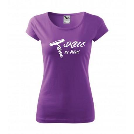 Klíč ke štěstí s obrázkem vývrtky na víno - Dámské dárkové vtipné tričko pro milovnice vín.