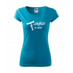 Klíč ke štěstí s obrázkem vývrtky na vino - Dámské dárkové vtipné tričko