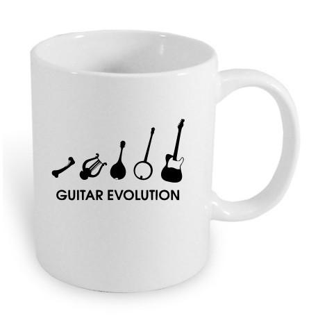 Guitar Evoluce. Dárkový hrníček pro muže hrající na kytaru. Dárek pro kytaristu.