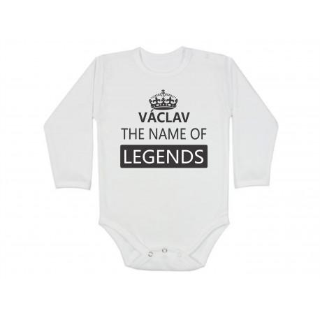 Václav, the name of the legends. Dětské bodíčko s potiskem jména Václav. Dáreček pro miminko s jménem Václav.