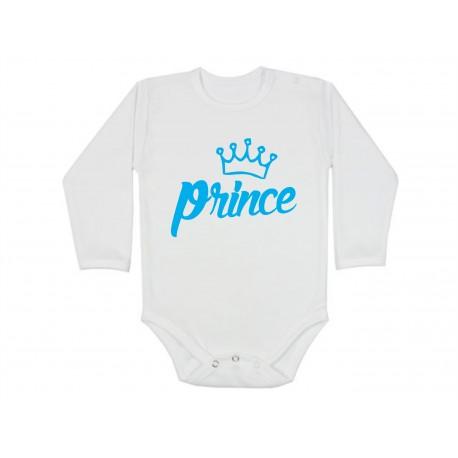 Prince. Princ.  Kojenecké body s dlouhým rukávem pro chlapečky, princatka. Bodíčko s nápisem Prince