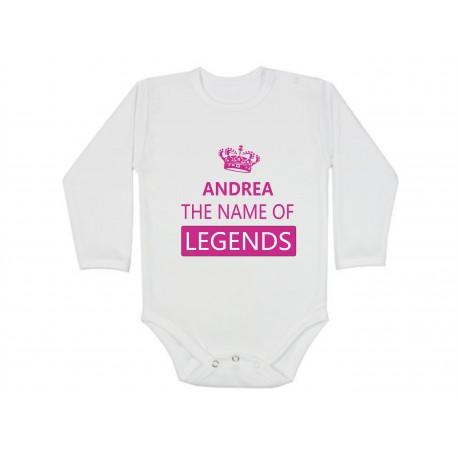 Andrea, the name of legends. Kojenecké bodíško s jménem Andrea. Dětské bodíčko pro miminko jménem Andrea.