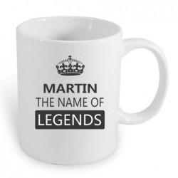 Martin the name of legends. Dárkový hrníček pro muže s jménem Martin. Dárek pro Martina