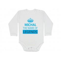 Kojenecké body pro chlapečka s jménem Michal. Michal the name of legends. Dárek pro miminko jménem Michal. Bodýčko pro Michala