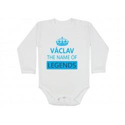Kojenecké body pro chlapečka s jménem Václavl.Václav the name of legends. Dárek pro miminko jménem Václav. Bodýčko pro Václava