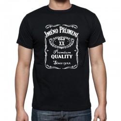 Tričko Jack Daniels s uvedním jména a příjmení oslavence, věk 21, roku narozeni