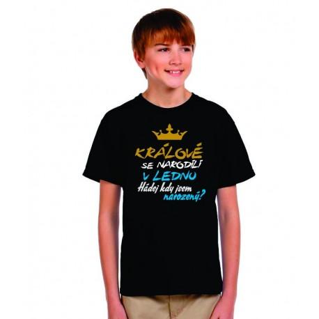 Králové se narodili v lednu. Hádej kdy jsem narozený? Dětské vtipné tričko pro kluky narozené v lednu.