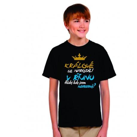 Dětské vtipné tričko Králové se narodili v říjnu. Hádej kdy jsem narozený?