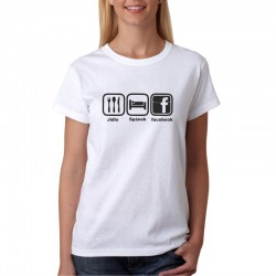 Dámské tričko Jídlo-Spánek-Facebook