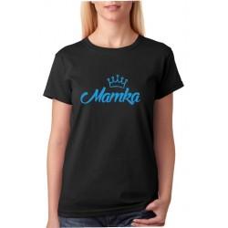 Dámské tričko Mamka s korunkou potisklé v modré barvě. Dárek pro mámu