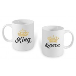 Set hrníčku King a Queen ze zlatou korunkou, dárek pro přítele, přílkyni , manžela nebo manželku