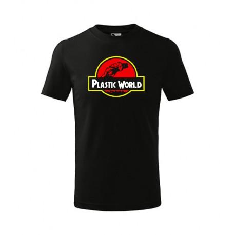 Pánské dárkové tričko Plastic World - aktuální téma hrozby plastů ve světě v designu parodující známý hollywodský film