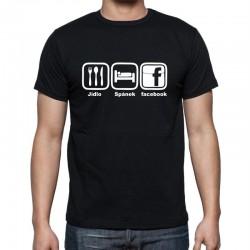 Pánské tričko Jídlo - Spánek - Facebook
